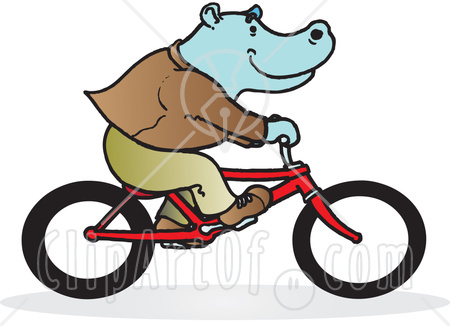 40966-Clipart-Illustration-Of-A-Blue-Hippo-Riding-A-Red-Bike