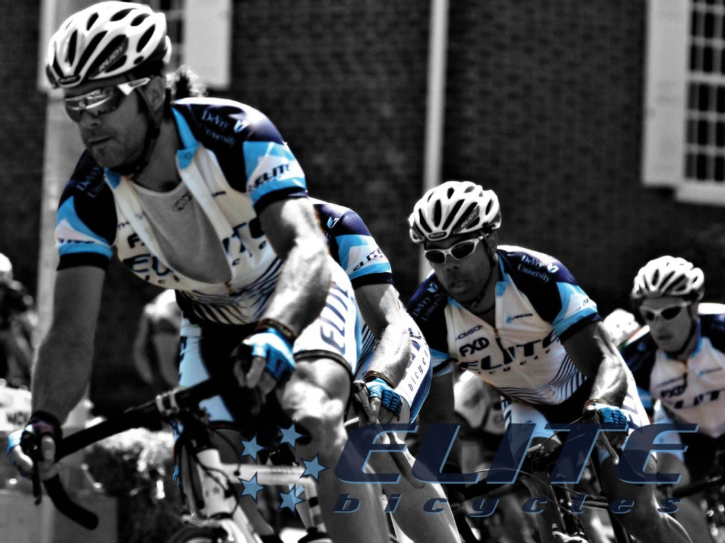 Bob Moskal driving  the front of Elite Bicycles road racing team train, to Elite Bicycles victory